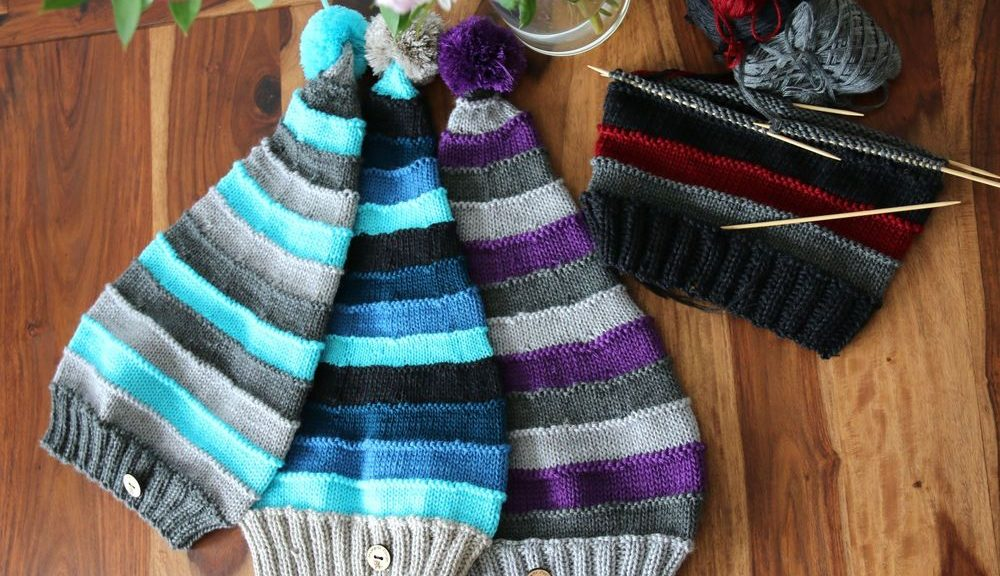 pointy pompom hat knitting pattern
