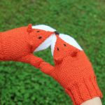 fox mittens knitting pattern for kids and adults